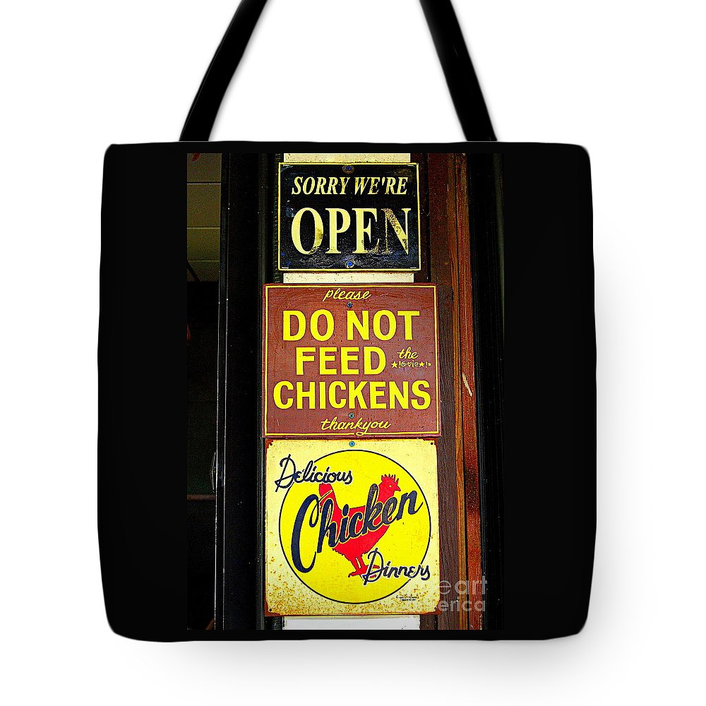 Sign Tote Bag featuring the photograph Delicious Chicken Dinners Sign by Catherine Sherman