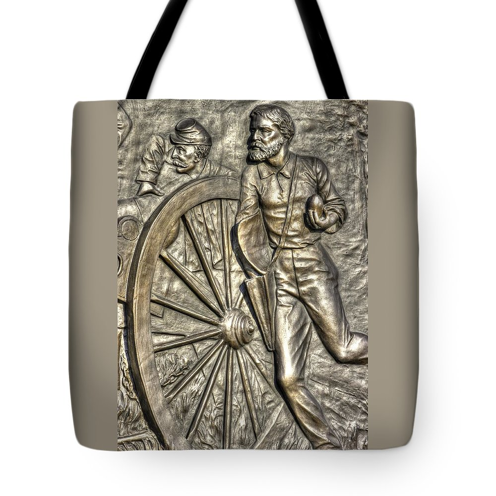 Civil War Tote Bag featuring the photograph Delivering The Charge - Detail-b 1st New York Light Artillery - Fitzhughs Battery K Gettysburg by Michael Mazaika