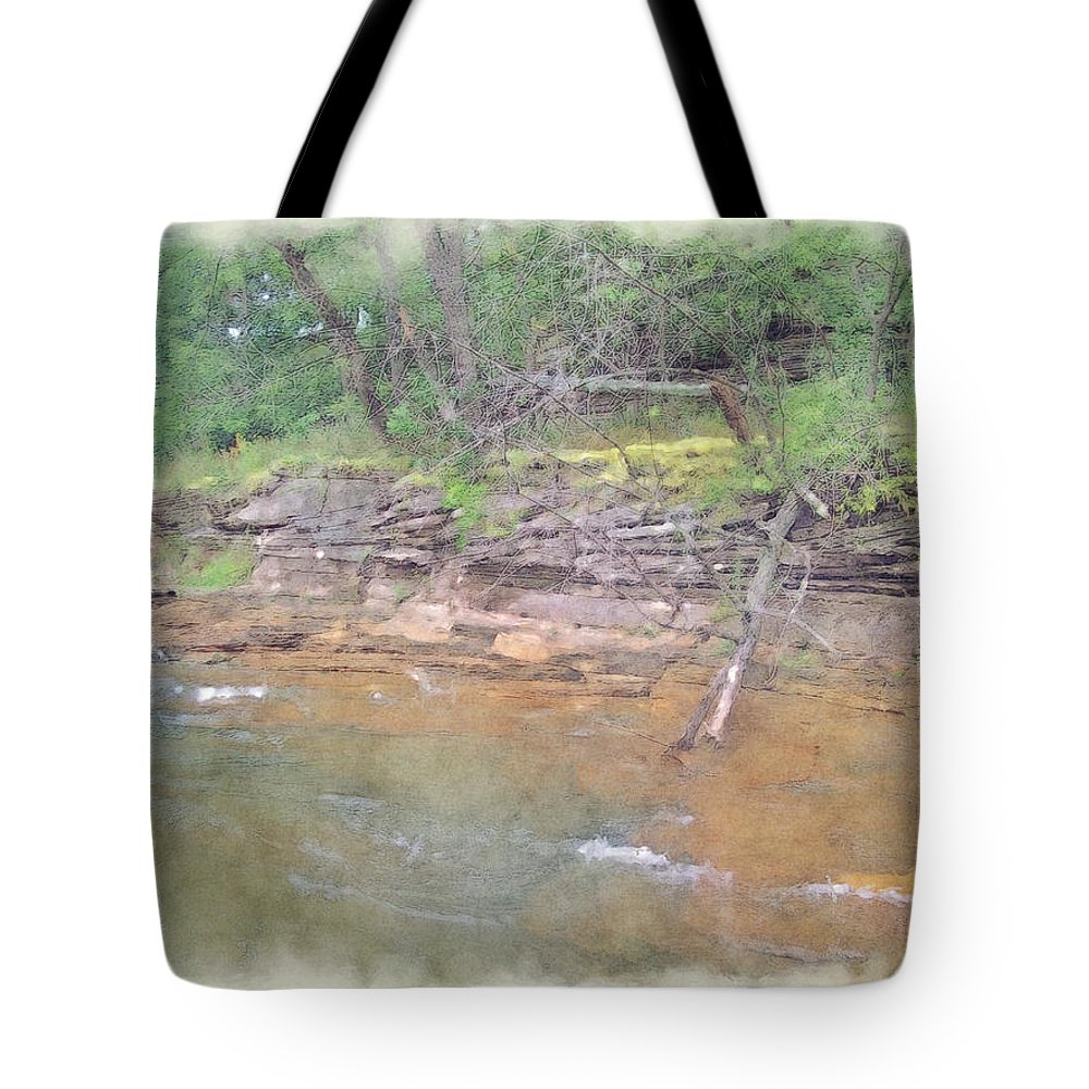 Wright Fine Art Tote Bag featuring the photograph Dells Creekside by Paulette B Wright