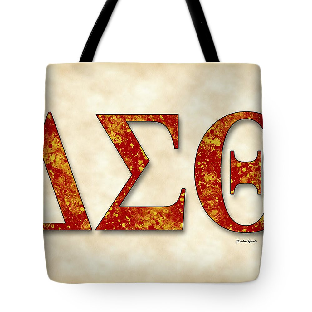 Delta Sigma Theta Tote Bag featuring the digital art Delta Sigma Theta - Parchment by Stephen Younts