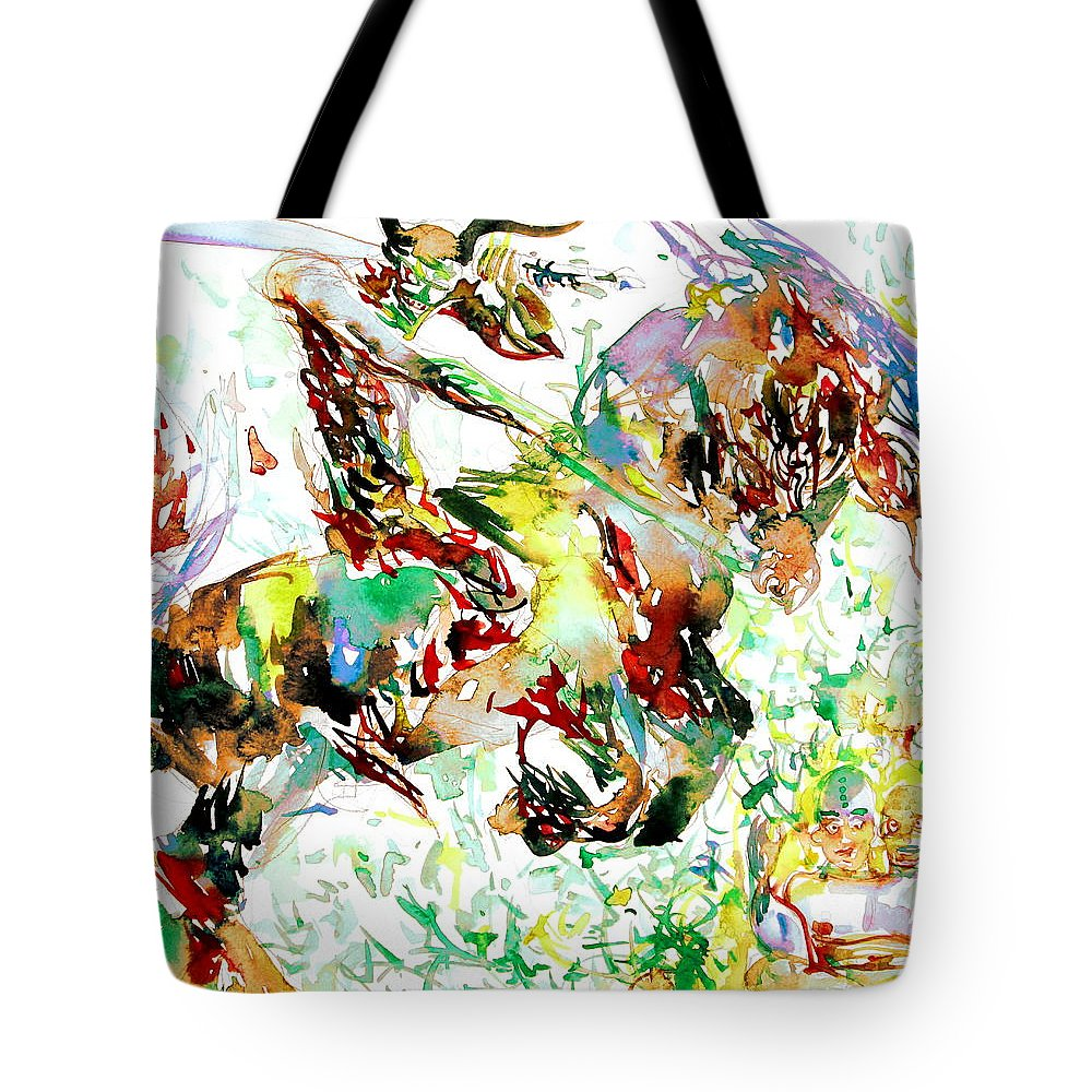 Stallion Tote Bag featuring the painting Demon Riding A Horse Rearing Up In Front Of A Two Headed Monk by Fabrizio Cassetta