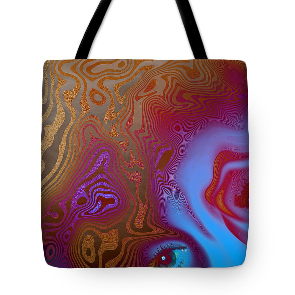 Abstract Tote Bag featuring the digital art Demons by Carol and Mike Werner