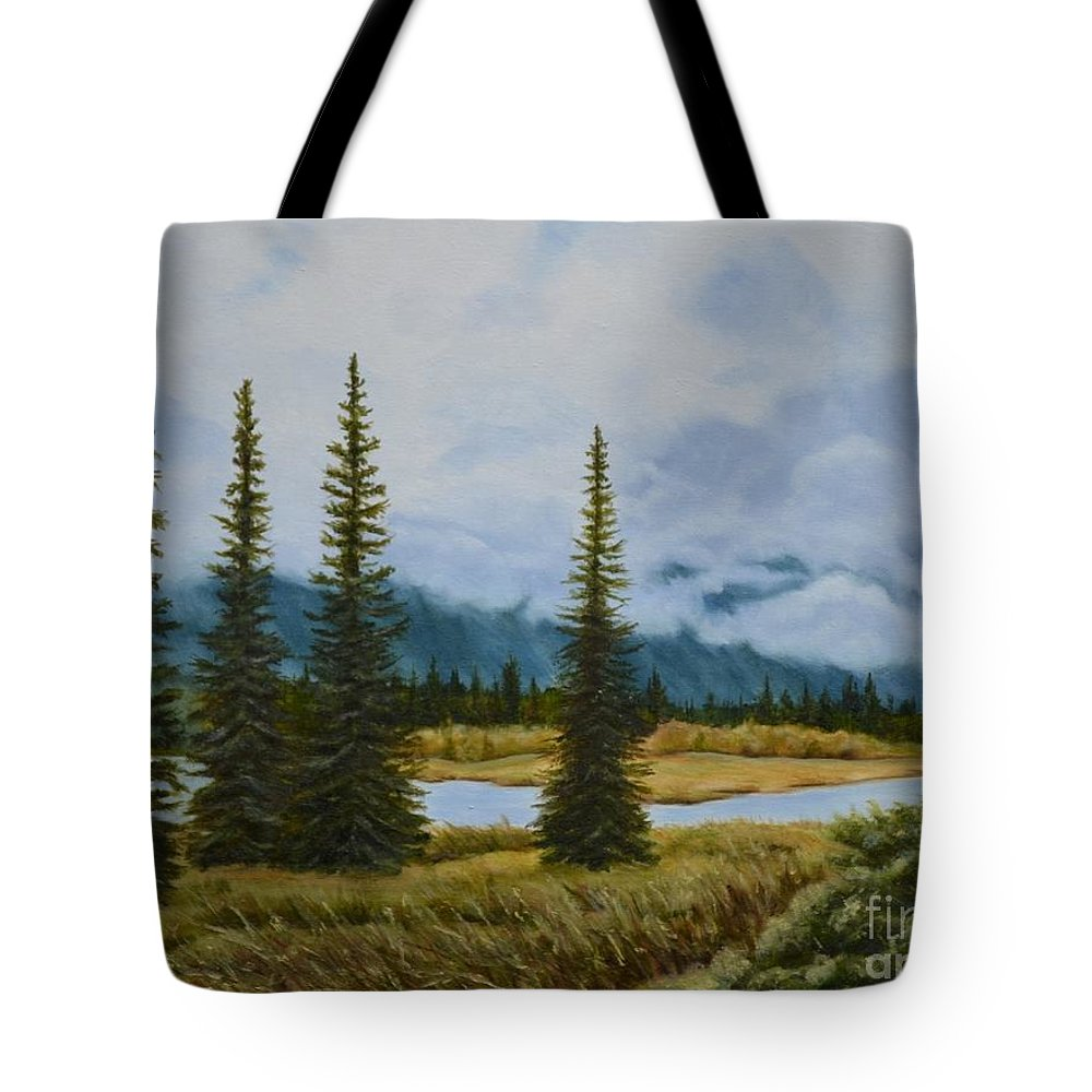 Usa Tote Bag featuring the painting Denali Morning by Mary Rogers