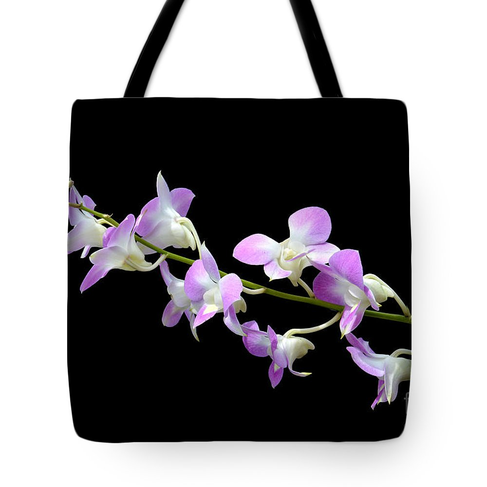 White Tote Bag featuring the photograph Dendrobium Orchid by Antoni Halim
