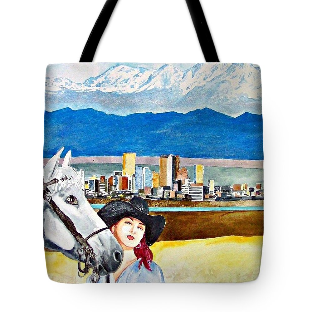 Denver Colorado America Woman Skyline Cityscape Horse Travel Tote Bag featuring the painting Denver 2010 by Ken Higgins