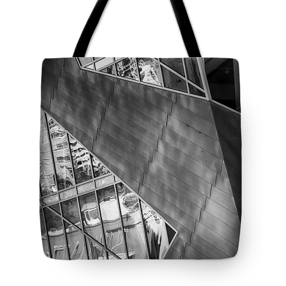 Downtown Tote Bag featuring the mixed media Denver Diagonals Bw by Angelina Vick