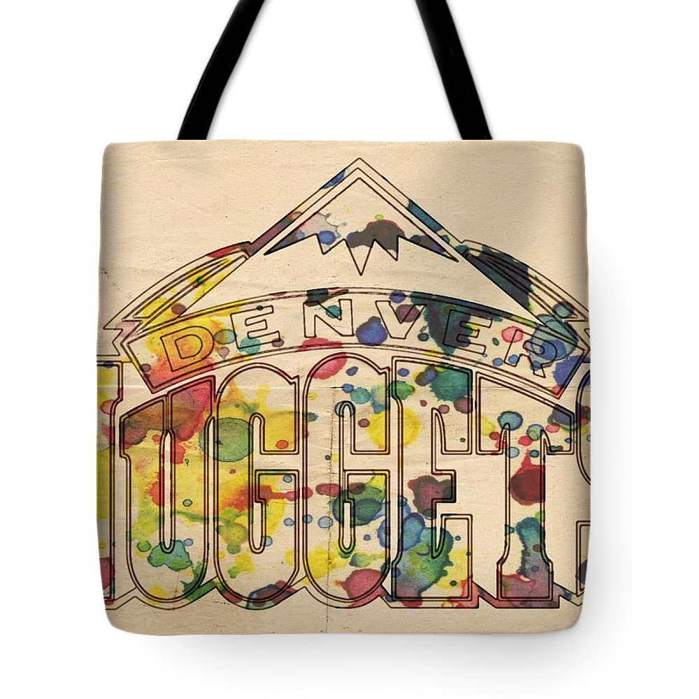 Denver Nuggets Tote Bag featuring the painting Denver Nuggets Poster Art by Florian Rodarte