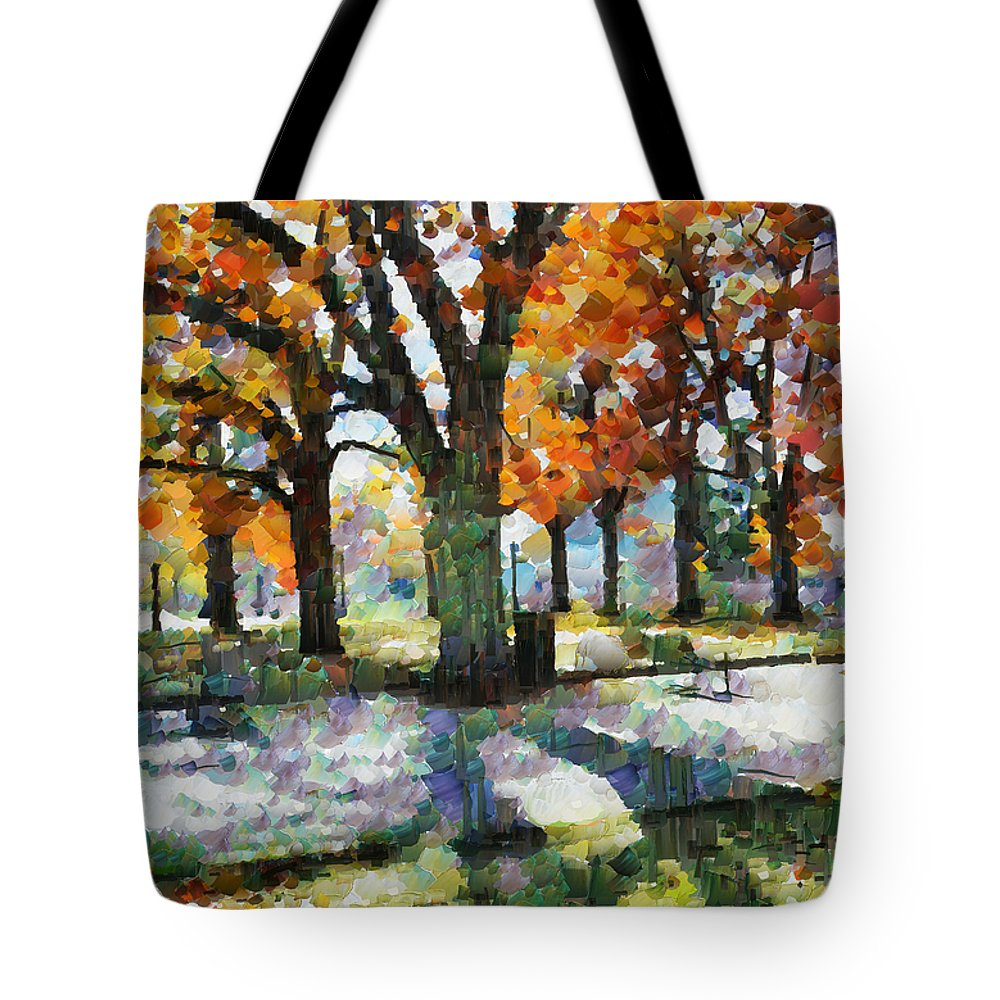 Denver Tote Bag featuring the mixed media Denver Park 3 by Angelina Vick