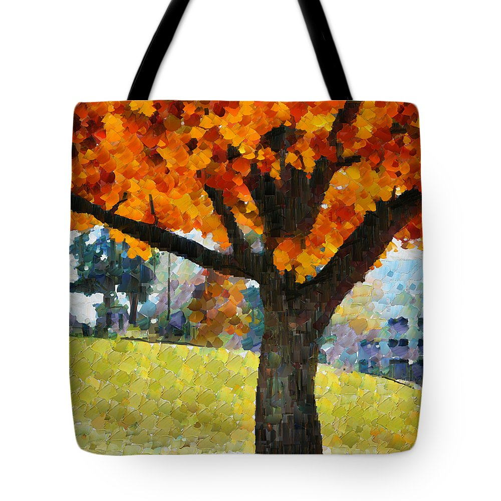 Denver Tote Bag featuring the mixed media Denver Park 5 by Angelina Vick