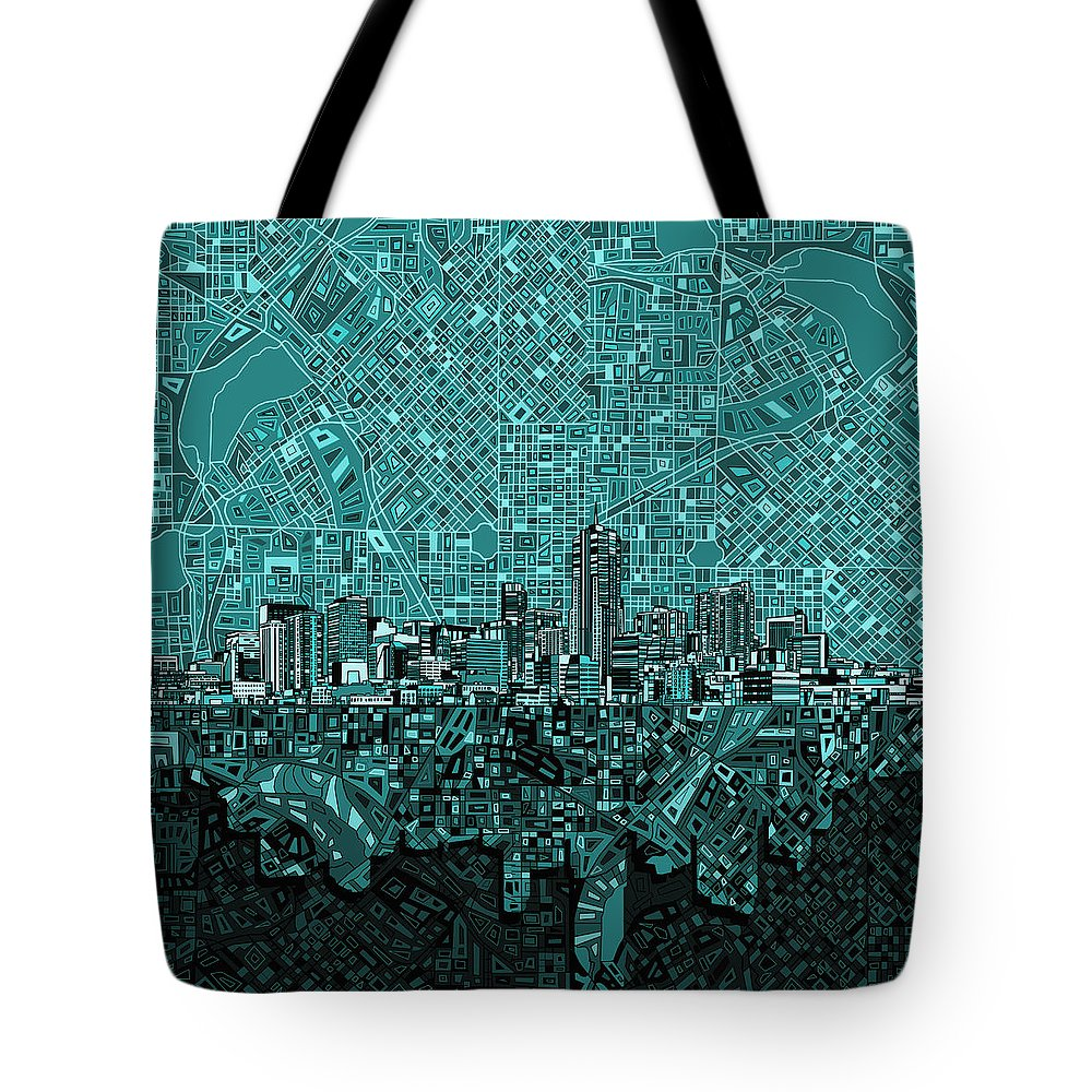 Denver Skyline Tote Bag featuring the painting Denver Skyline Abstract 5 by Bekim Art