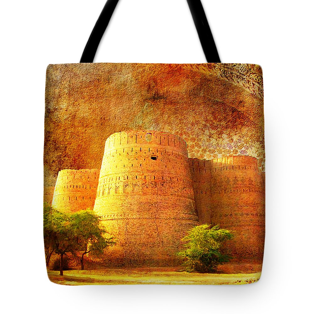 Pakistan Tote Bag featuring the painting Derawar Fort by Catf