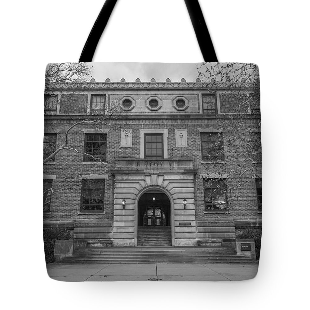 Ohio State University Tote Bag featuring the photograph Derby Hall Black And White by John McGraw