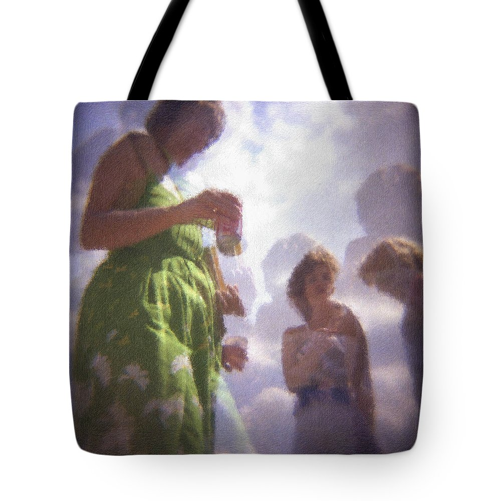 Kentucky Derby Tote Bag featuring the photograph Derby People 1 Pastel Chalk 2 by David Lange