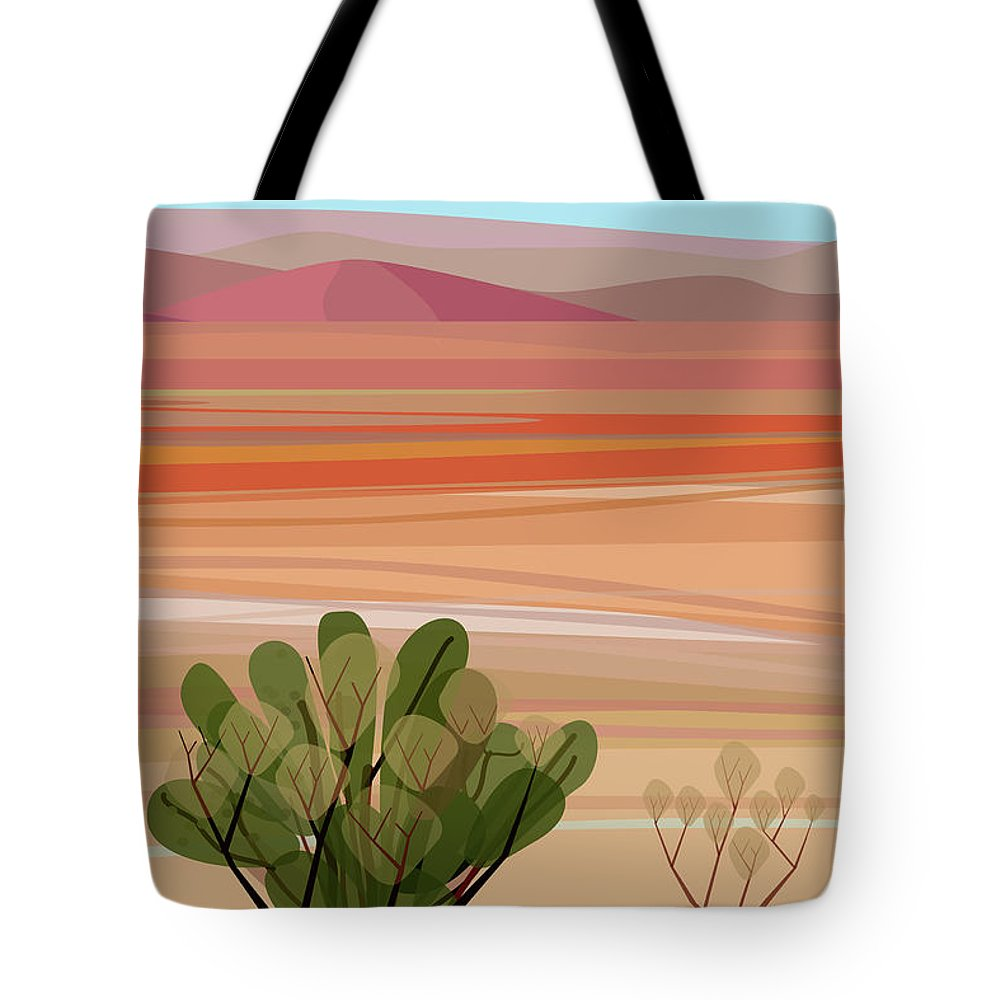 Saguaro Cactus Tote Bag featuring the photograph Desert, Cactus Brush, Mountains In by Charles Harker