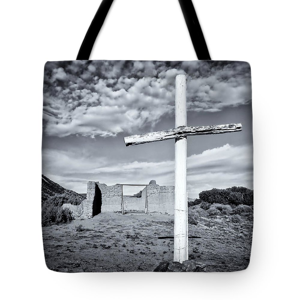 Abandoned Tote Bag featuring the photograph Desert Cross by Ghostwinds Photography