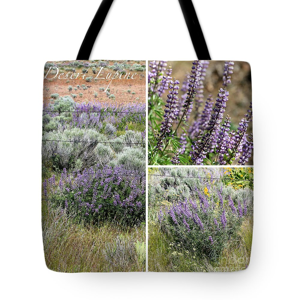 Lupine Tote Bag featuring the photograph Desert Lupine Collage by Carol Groenen