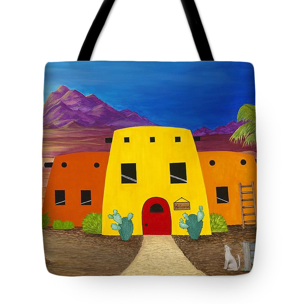 Whimsicle Desert Inn Has Vacancy Tote Bag featuring the painting Desert Oasis by Carol Sabo