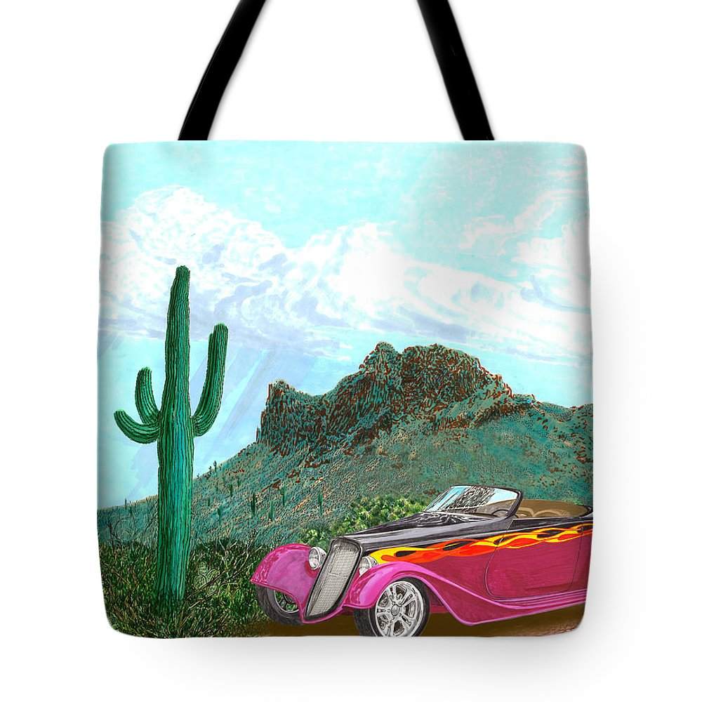 Car Art Tote Bag featuring the painting Desert Roadster 34 Ford by Jack Pumphrey