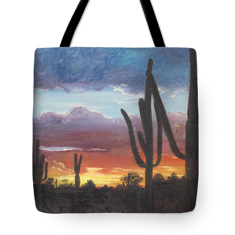 painted Desert Tote Bag featuring the painting Desert Silhouette by Barbara McDevitt