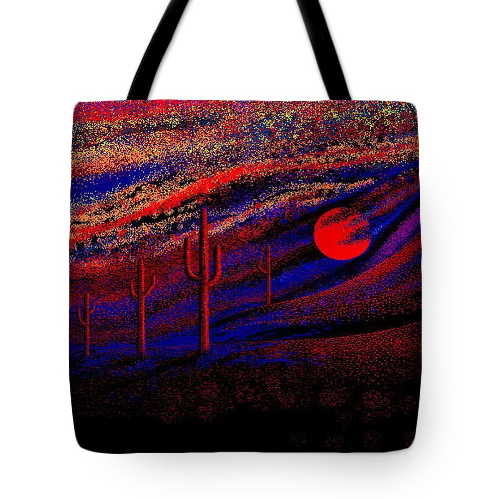 Desert Sunset Quickly Sketched In Four And Half Hours.... Tote Bag featuring the digital art Desert Sunset by Larry Lehman