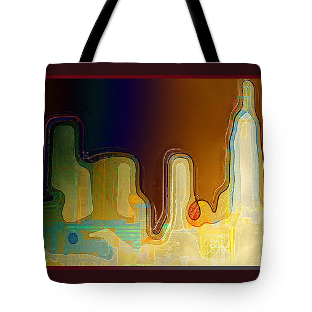 Desert Tote Bag featuring the mixed media Desert Sunset by Paula Ayers