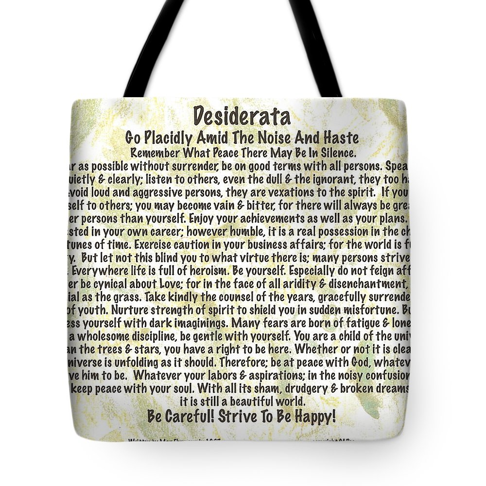 Desiderata Tote Bag featuring the painting Desiderata On Leafy Watercolor by Desiderata Gallery