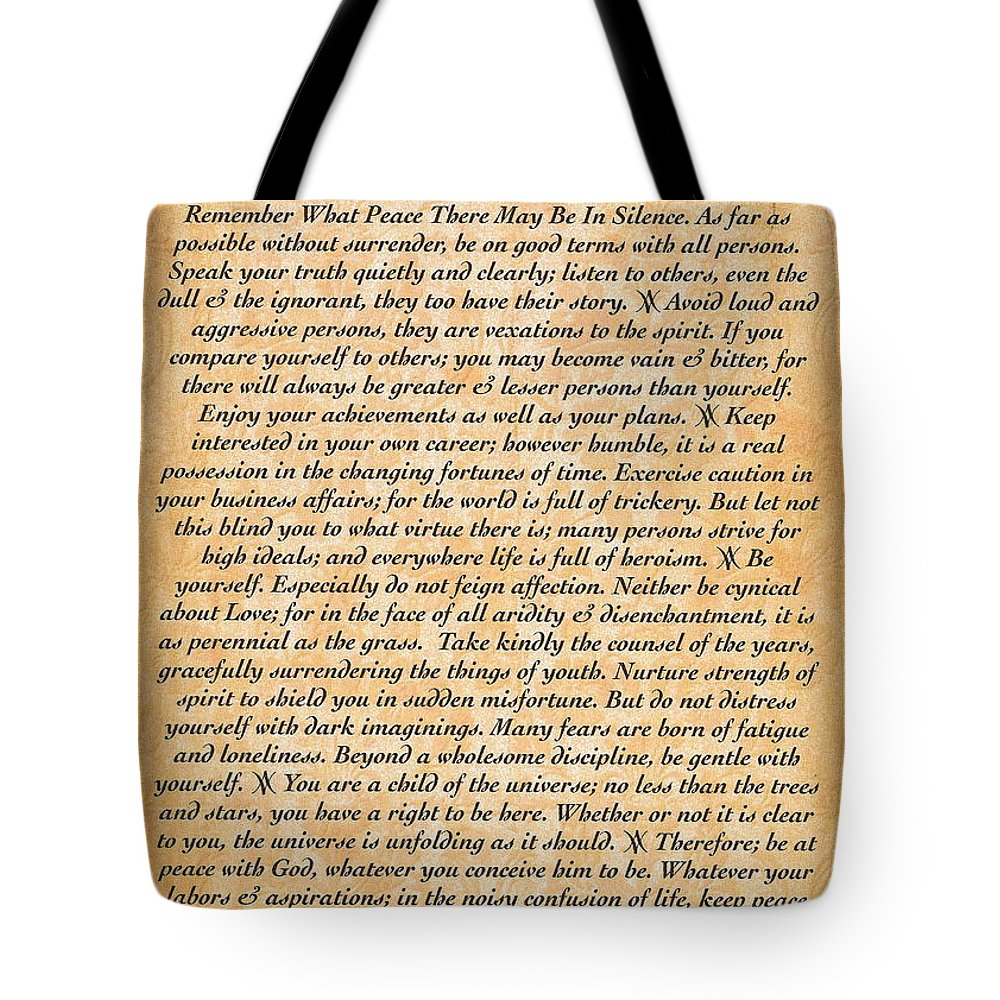 Desiderata Tote Bag featuring the digital art Desiderata Poster On Antique Embossed Wood Paper by Desiderata Gallery