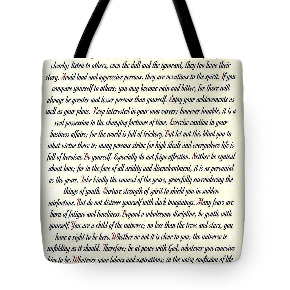 Desiderata Tote Bag featuring the mixed media Desiderata Romanesque by Desiderata Gallery