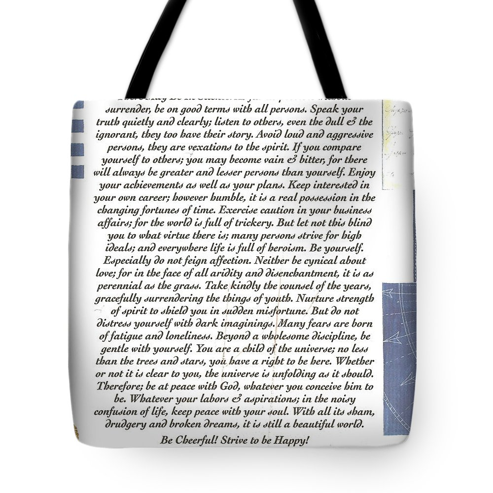 Desiderata Tote Bag featuring the mixed media Desiderata Sailing In Style by Desiderata Gallery