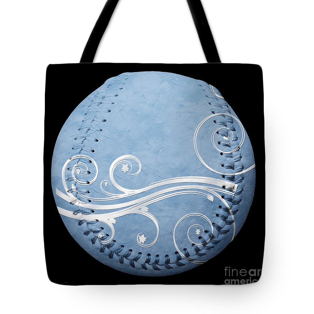 Baseball Tote Bag featuring the photograph Designer Light Blue Baseball Square by Andee Design