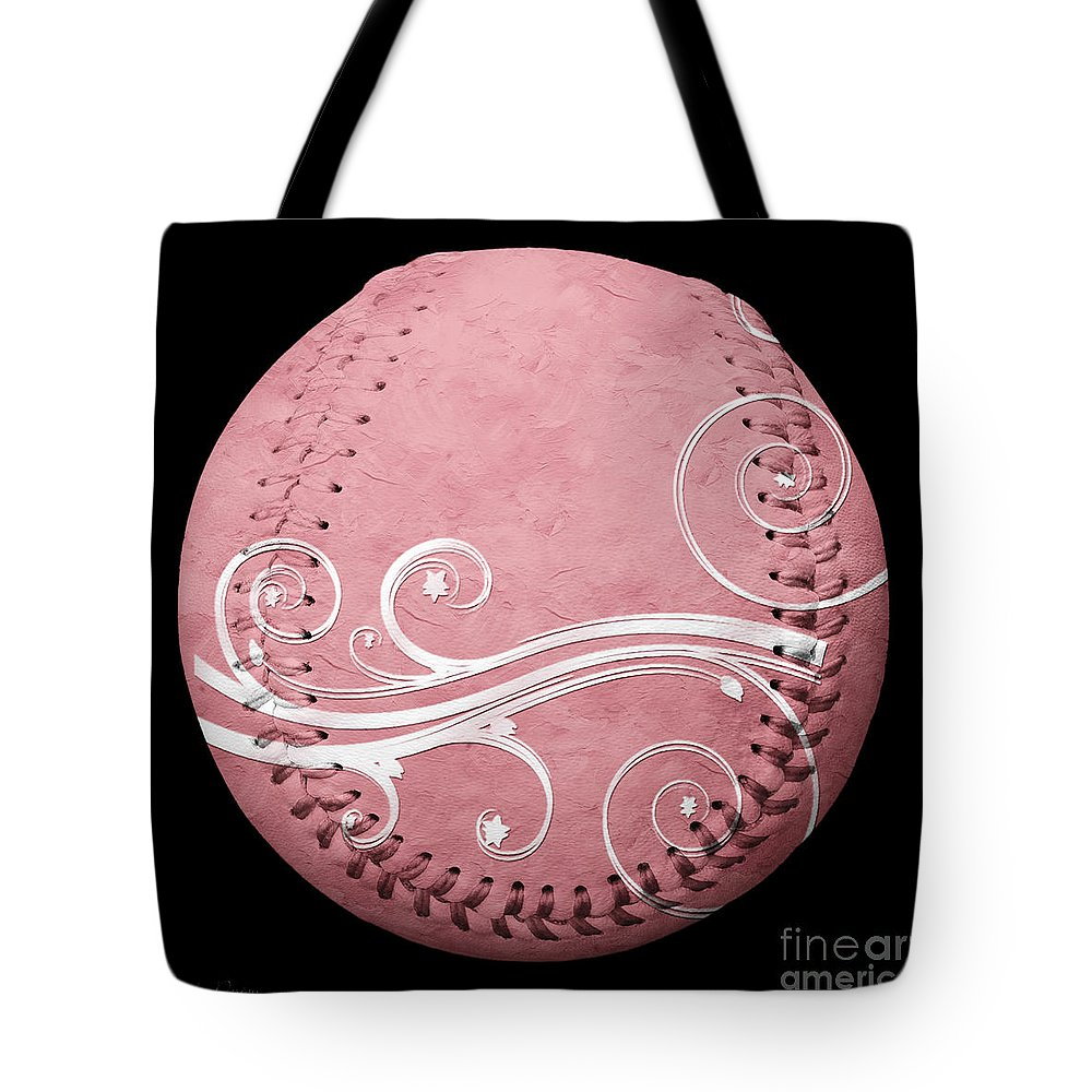 Baseball Tote Bag featuring the mixed media Designer Pink Baseball Square by Andee Design