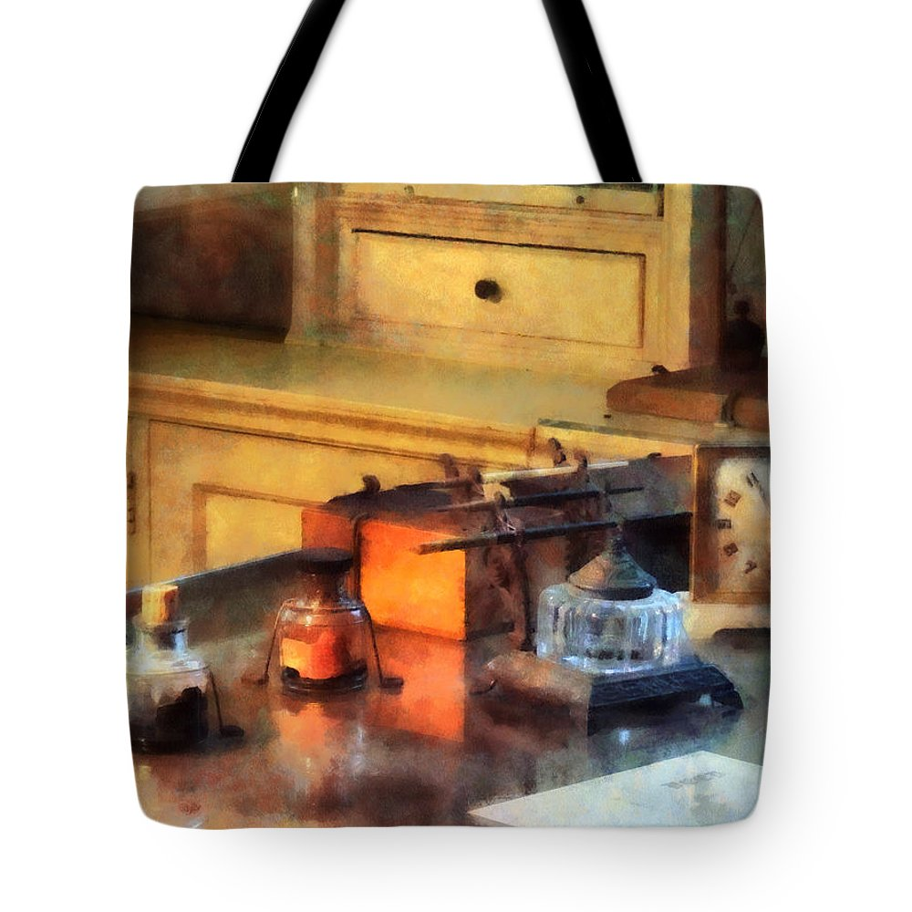 Office Tote Bag featuring the photograph Desk Set by Susan Savad