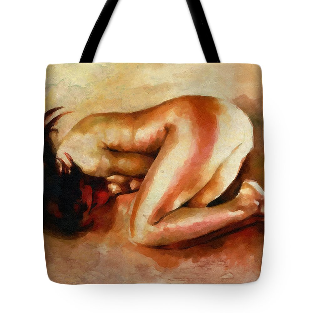 Expressionism Tote Bag featuring the painting Despair - The Nude In Sadness by Georgiana Romanovna