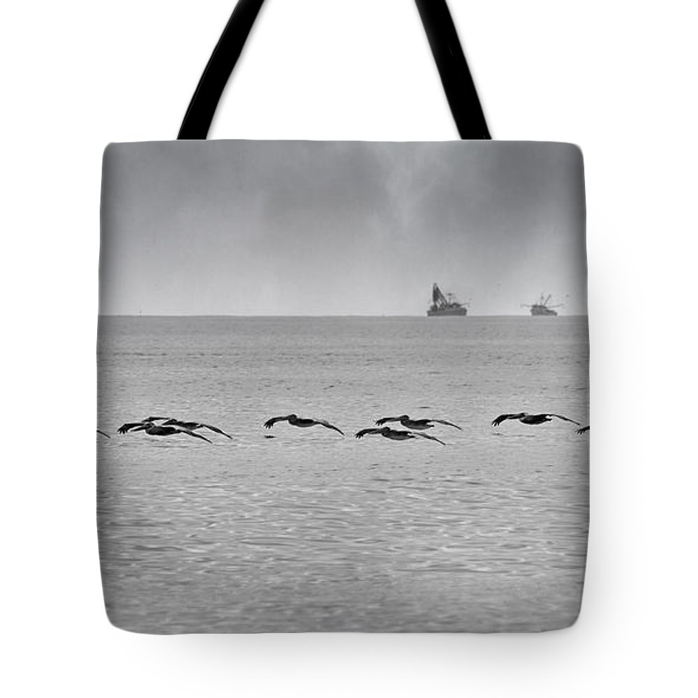 Pelican Tote Bag featuring the photograph Destination by Betsy Knapp