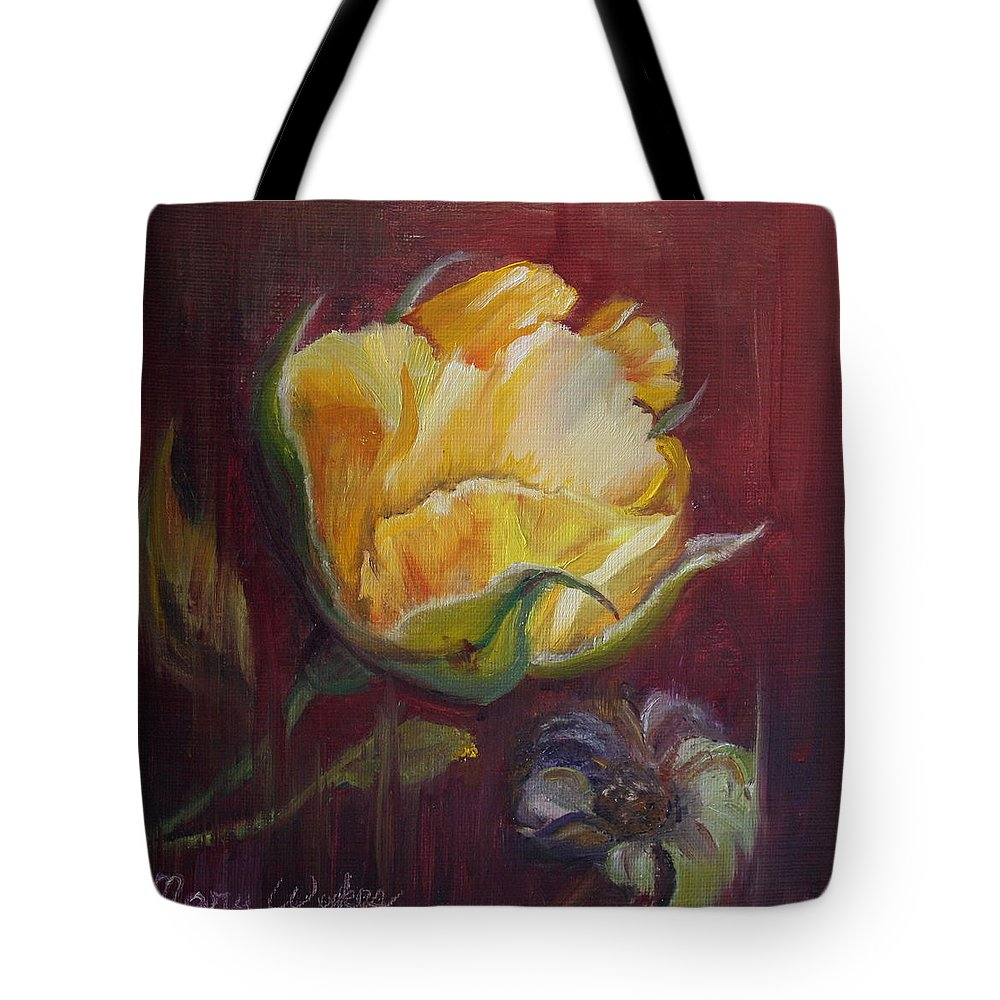 Rose Tote Bag featuring the painting Destiny by Mary Beglau Wykes