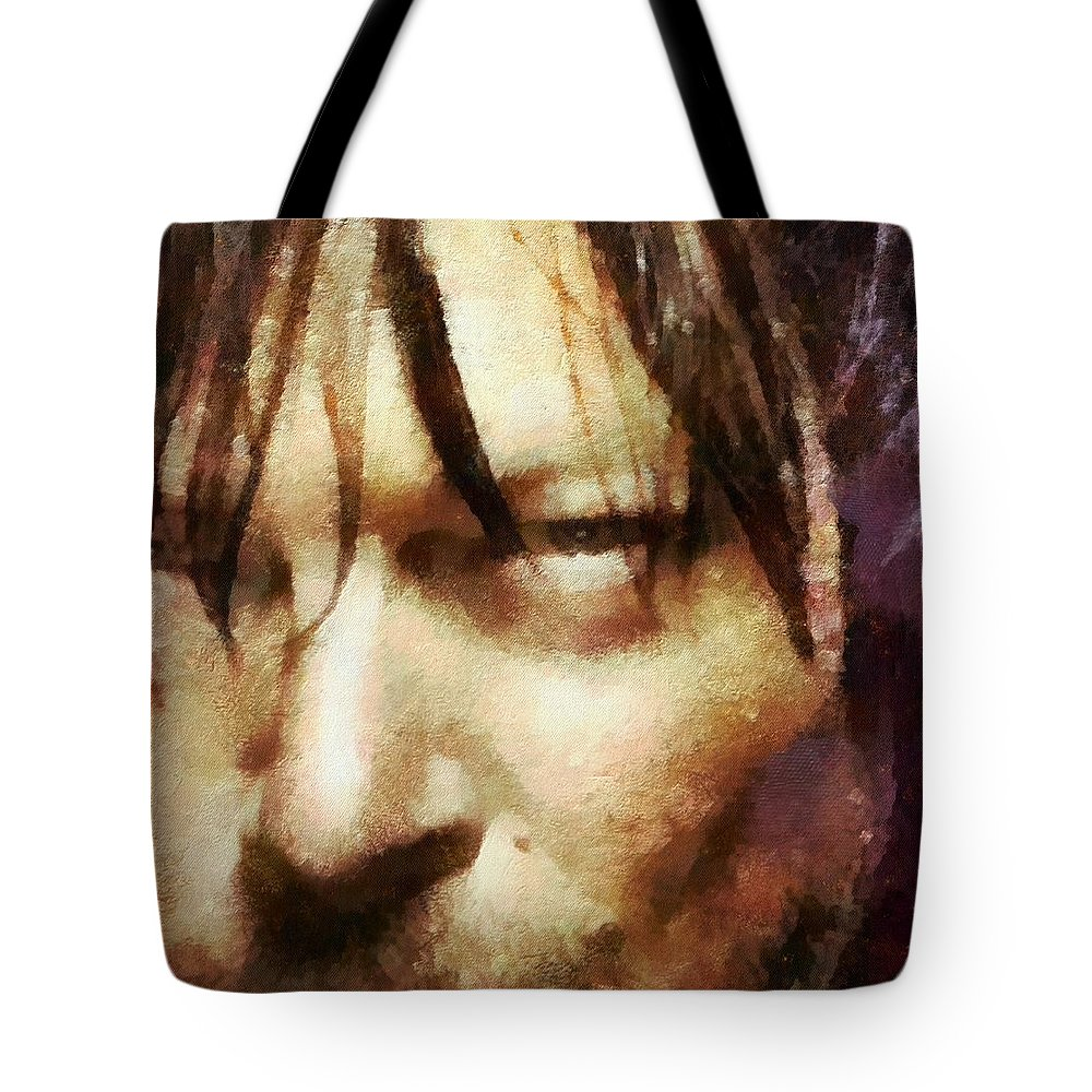 Daryl Dixon Tote Bag featuring the painting Detail Of Daryl Dixon by Janice MacLellan