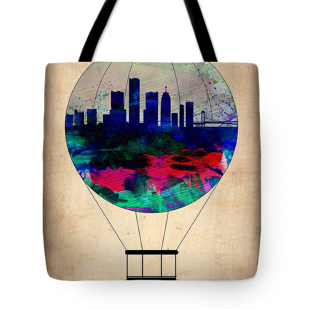 Detroit Tote Bag featuring the painting Detroit Air Balloon by Naxart Studio