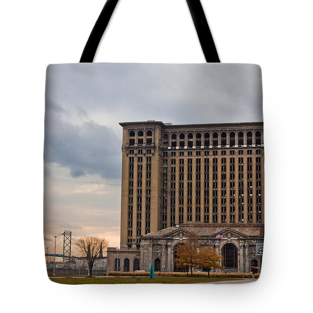 Detroit Tote Bag featuring the photograph Detroit Central Station And Ambassador Bridge by John McGraw