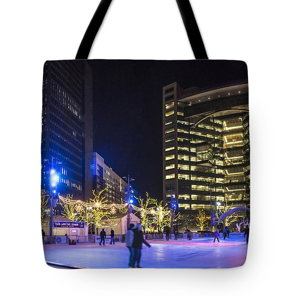 Detroit Tote Bag featuring the photograph Detroit Ice Rink by John McGraw