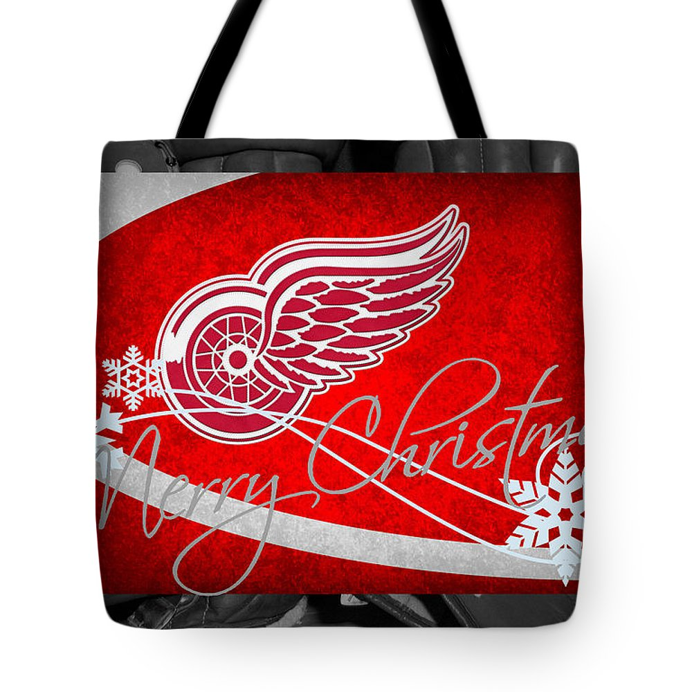 Red Wings Tote Bag featuring the photograph Detroit Red Wings Christmas by Joe Hamilton