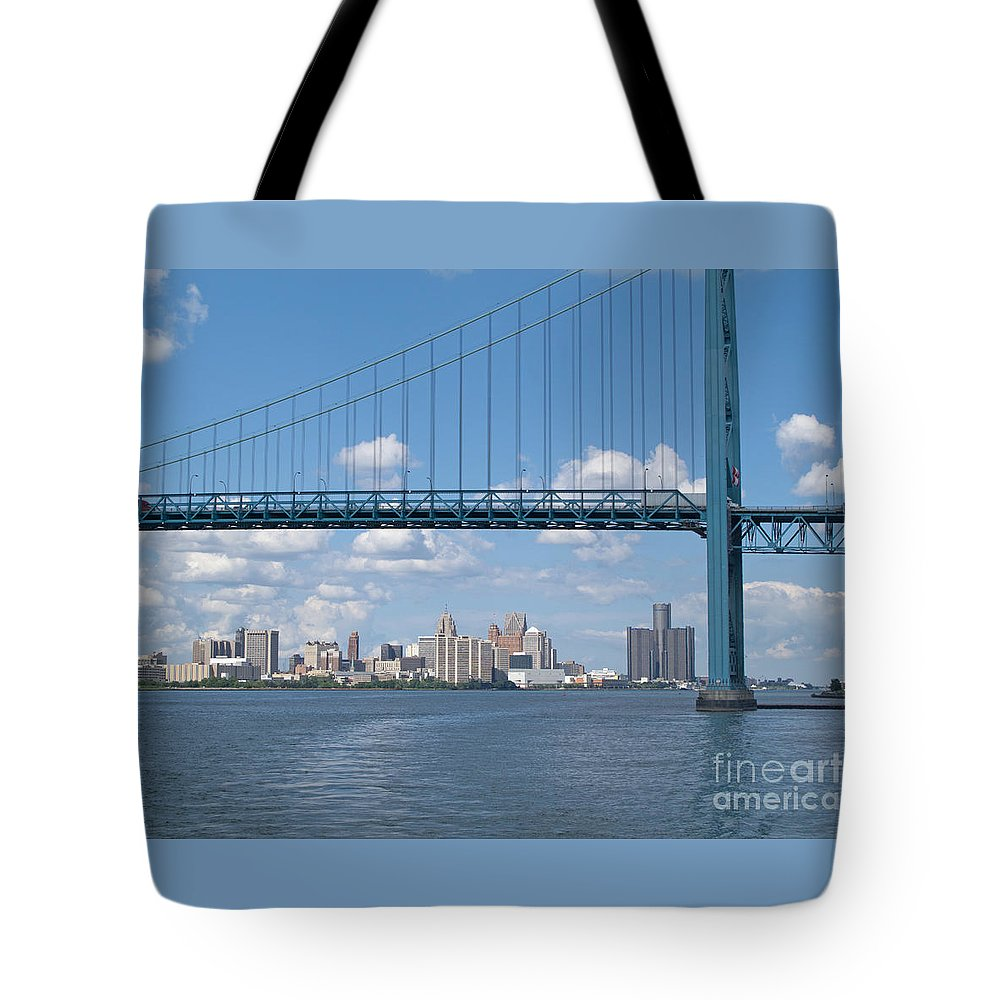 Bridge Tote Bag featuring the photograph Detroit River Crossing by Ann Horn