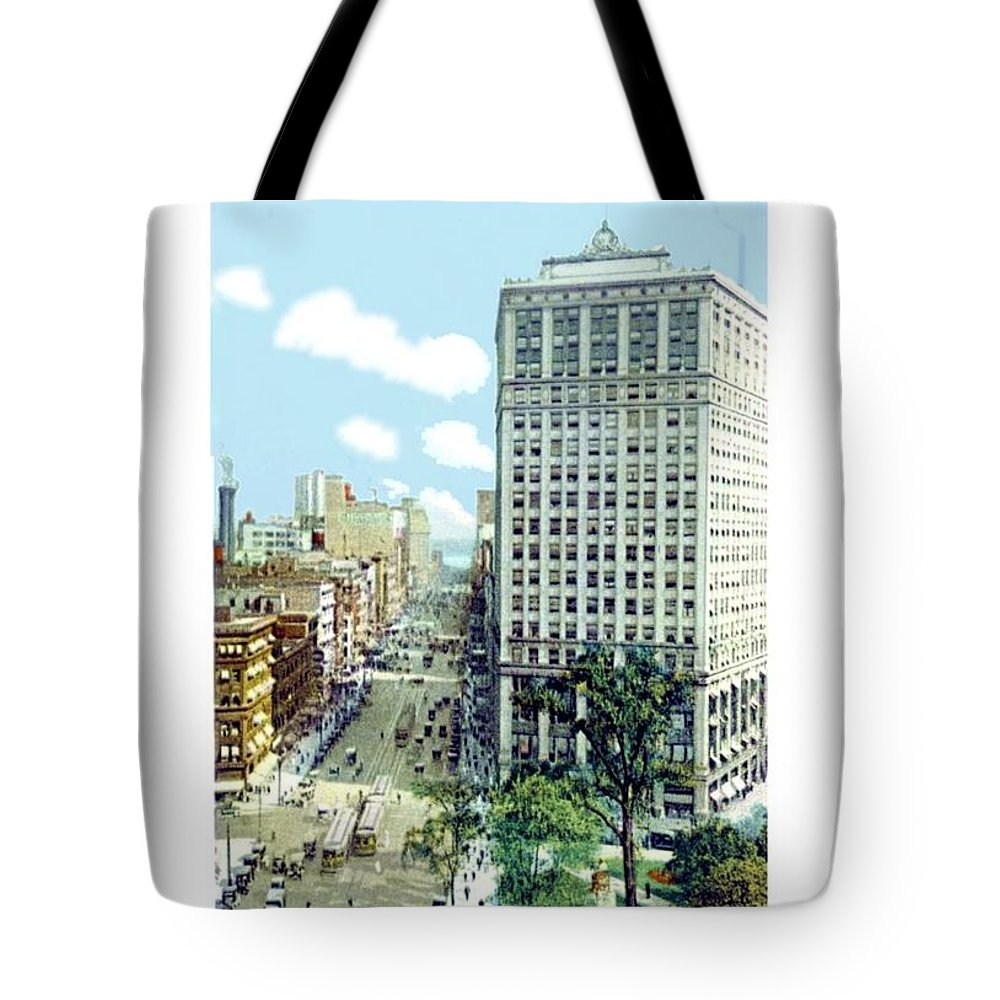 Detroit Tote Bag featuring the digital art Detroit - The David Whitney Building - Woodward Avenue - 1918 by John Madison