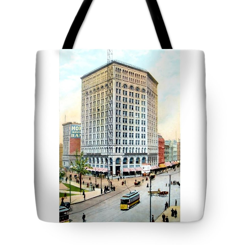 Detroit Tote Bag featuring the digital art Detroit - The Majestic Building - Woodward Avenue - 1900 by John Madison