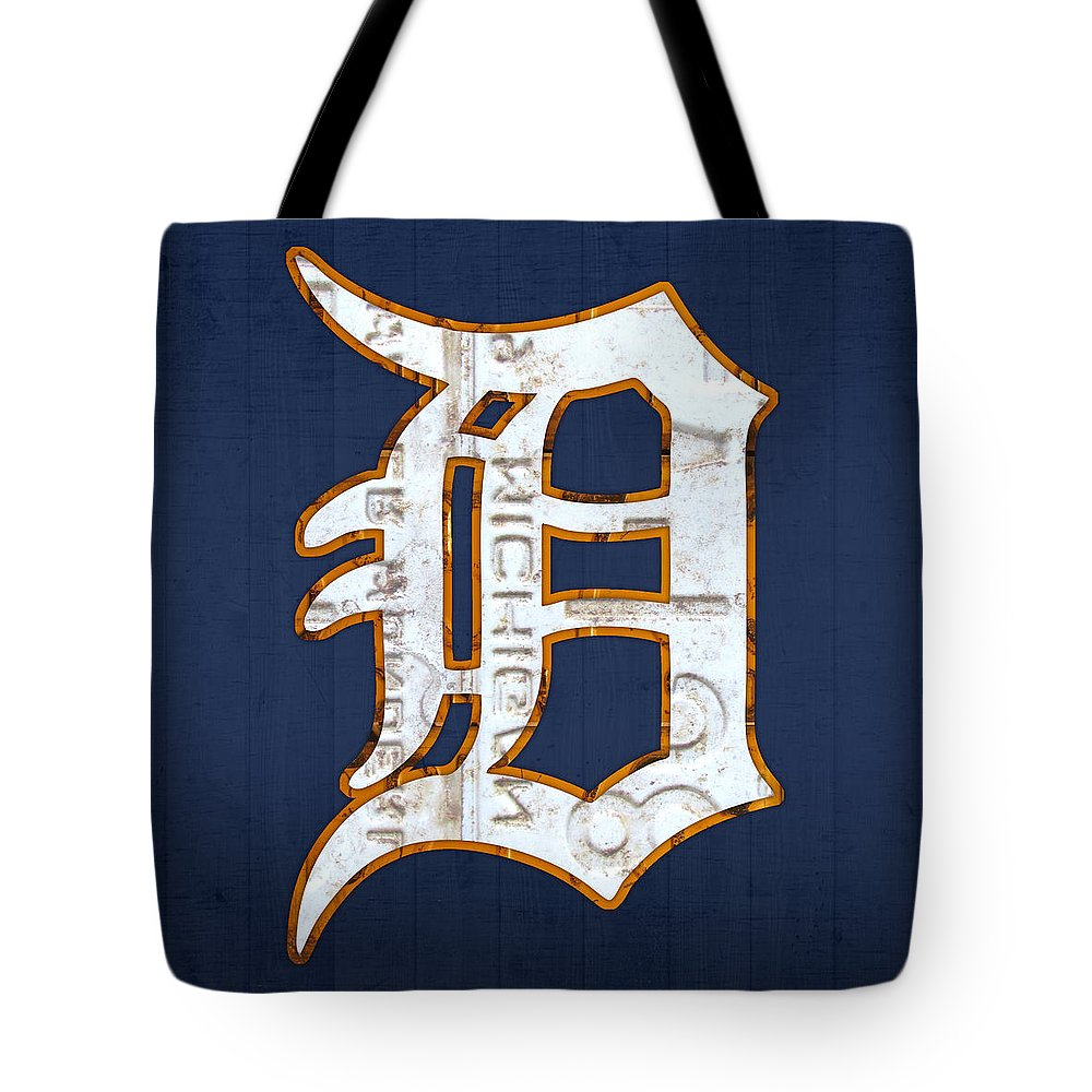 Detroit Tigers Baseball Old English D Logo License Plate Art Sports Michigan License Plate Map Tote Bag featuring the mixed media Detroit Tigers Baseball Old English D Logo License Plate Art by Design Turnpike