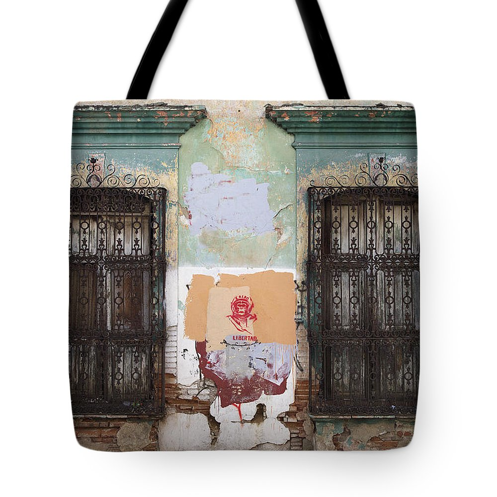 No People Tote Bag featuring the photograph Devastated Wall With Windows by Henning Marstrand