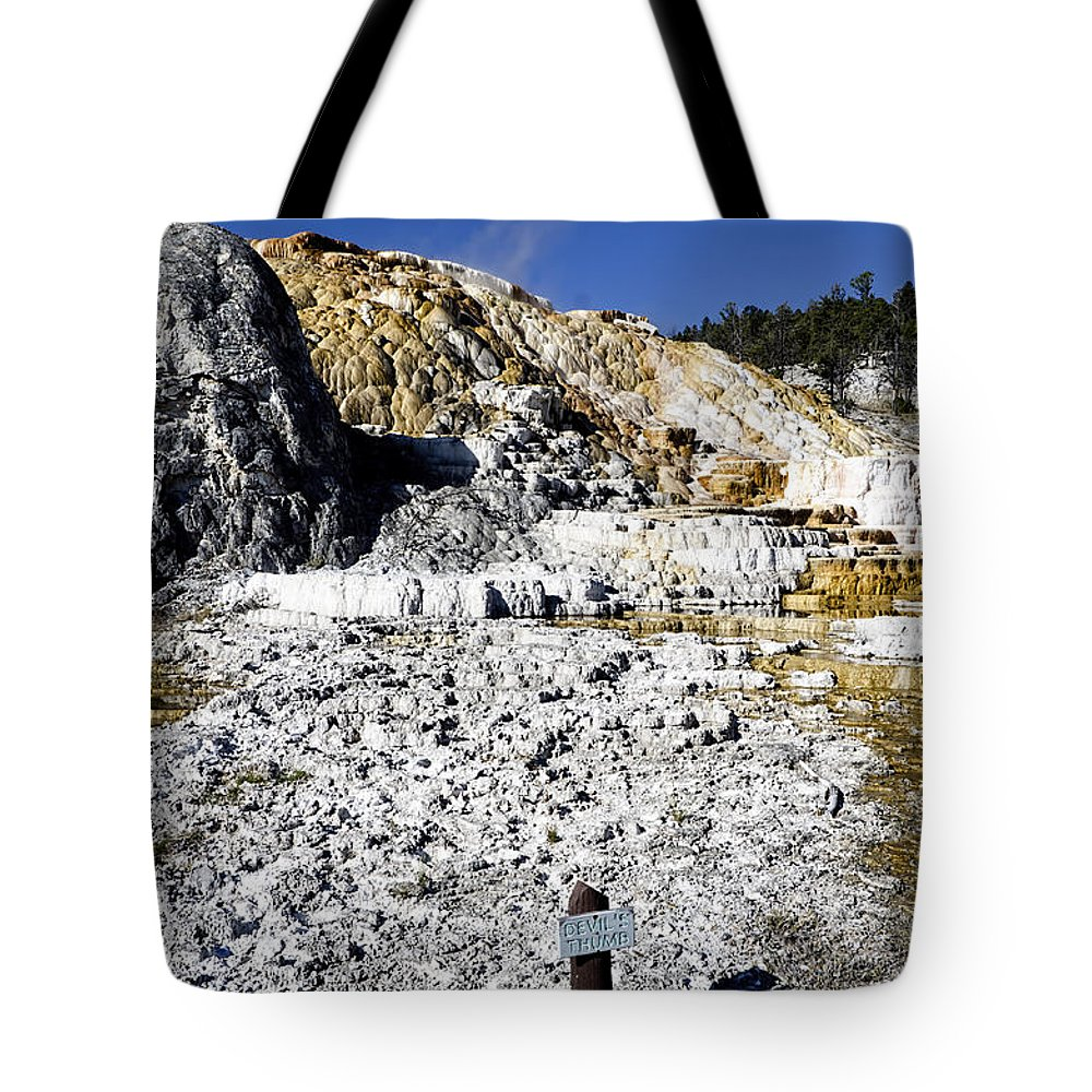 Yellowstone National Park Tote Bag featuring the photograph Devils Thumb - Yellowstone by Jon Berghoff