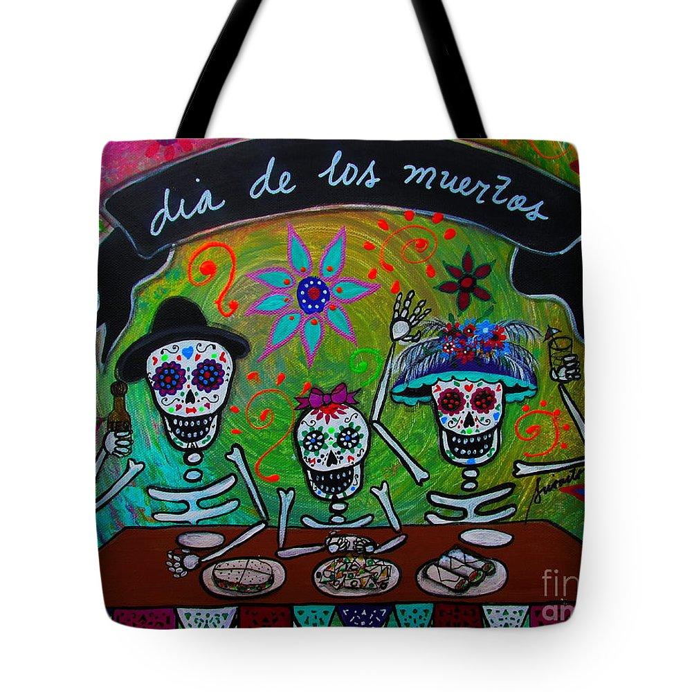 Familia Tote Bag featuring the painting Dia De Los Muertos Familia by Pristine Cartera Turkus