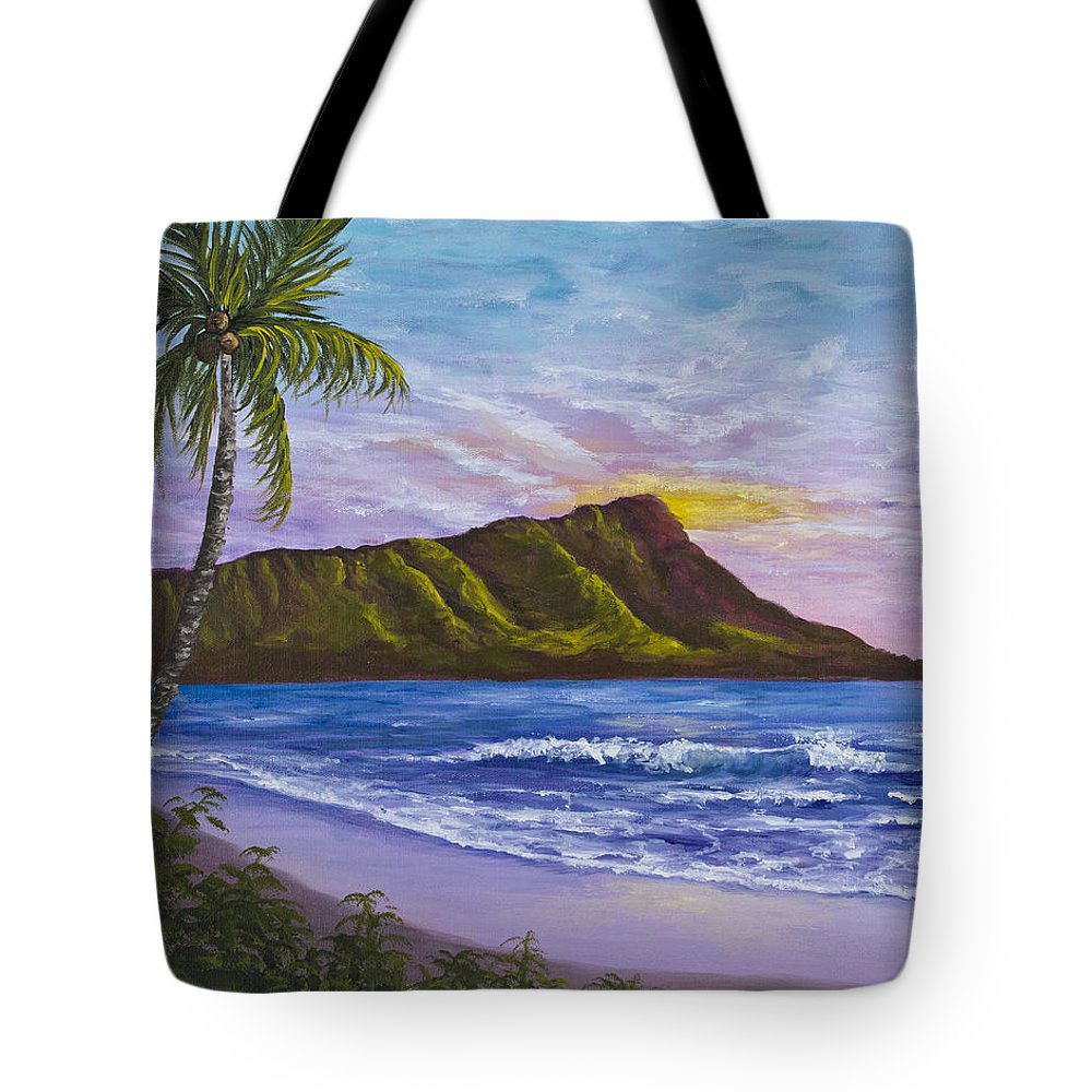 Hawaii Tote Bag featuring the painting Diamond Head by Darice Machel McGuire