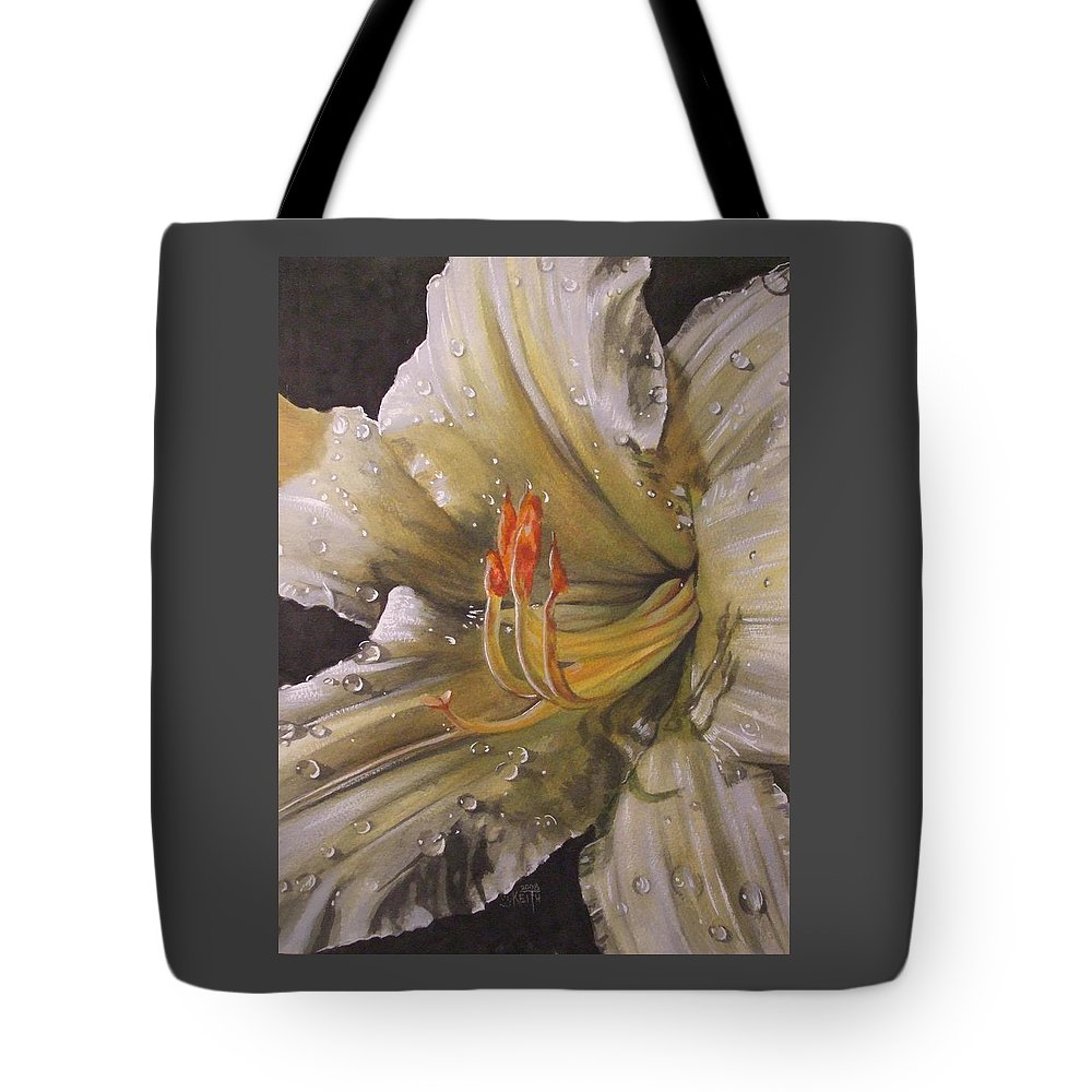 Daylily Tote Bag featuring the painting Diamonds by Barbara Keith