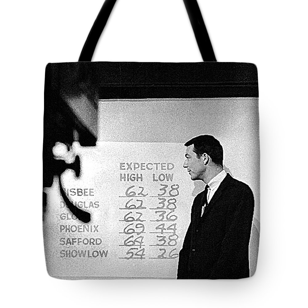 Dick Mayers Weather Cast Kvoa Tv Tucson Arizona Circa 1964 Black And White Tote Bag featuring the photograph Dick Mayers Weather Cast Kvoa Tv Tucson Arizona Circa 1964 by David Lee Guss